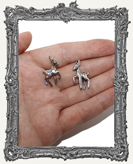 Antique Silver Mini 3-D Deer Charms - Set of 2