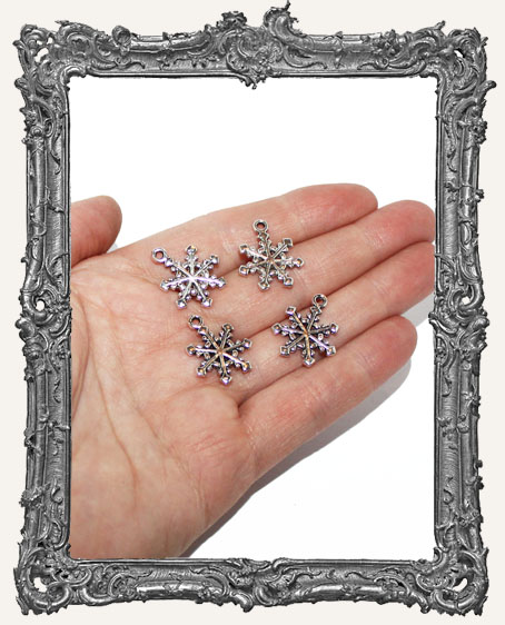 Antique Silver Classic Snowflake Charms - Set of 4