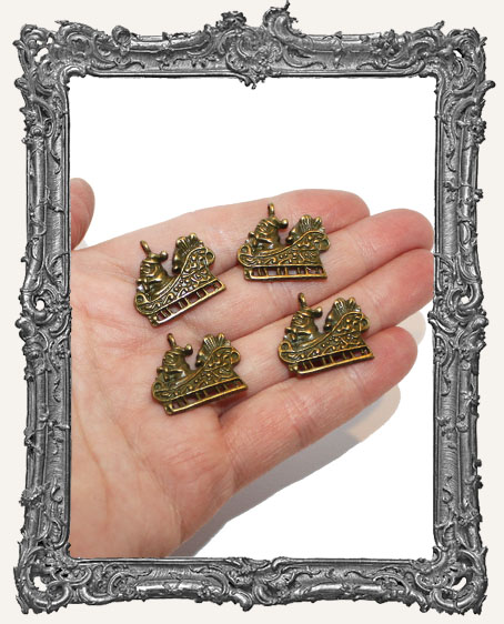 Antique Brass Santa Sleigh Charms - Set of 4