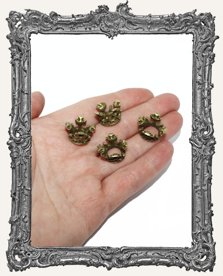 Antique Brass Small Regal Crowns - Set of 4