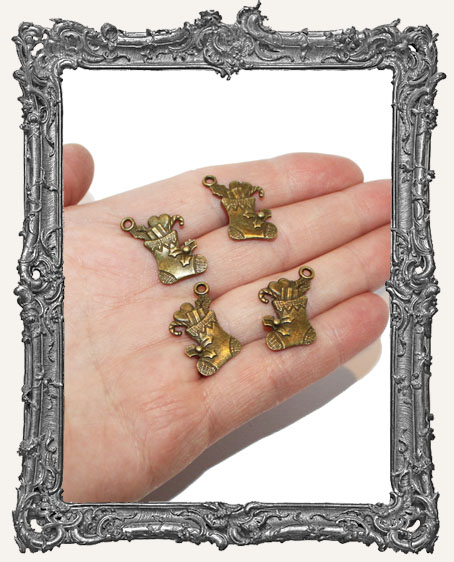 Antique Brass Christmas Stocking Charms - Set of 4
