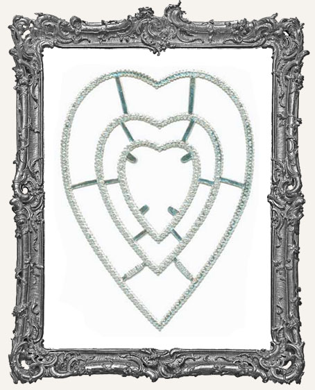 German Dresden SILVER Ornate Heart Frames 3 Pieces