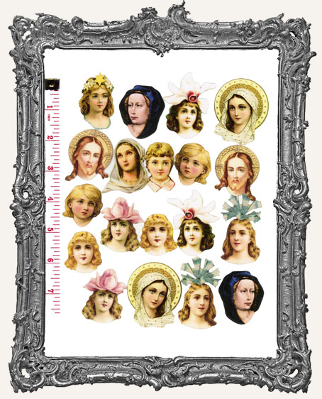 19 Meidum Fairy Art Doll Head Paper Cuts Angels and Saints