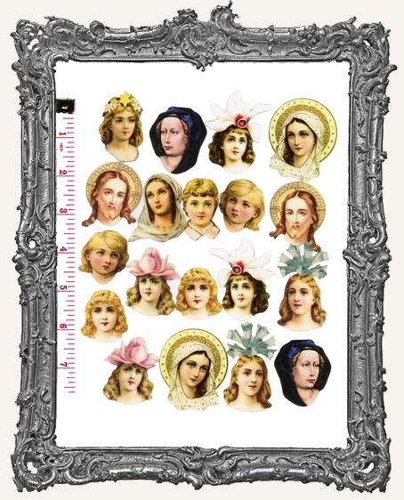 19 Meidum Fairy Art Doll Head Paper Cuts Angels and Saints