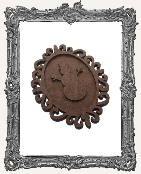 Layered Cameo Frame Silhouette Ornament - Snowman