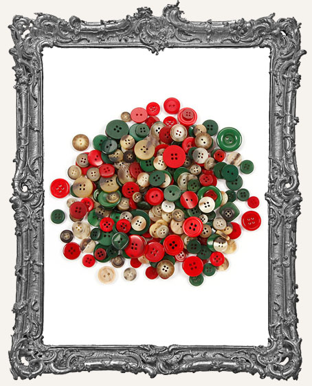 Assorted Christmas Folk Buttons - 100 grams