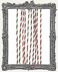 Wired Chenille Stems - 6mm - Red White Green Candy Twist - 10 Pieces