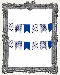 Patterned Flag Mini Paper Garland - 2 yards - Navy