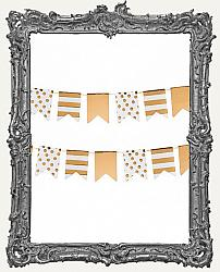 Patterned Flag Mini Paper Garland - 2 yards - Gold