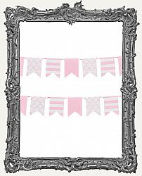 Patterned Flag Mini Paper Garland - 2 yards - Pink