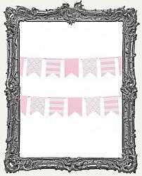 Patterned Flag Mini Paper Garland - 2 yards - Pink