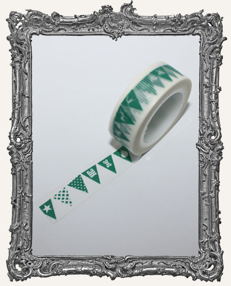 Washi Tape - Green Christmas Flag Banner