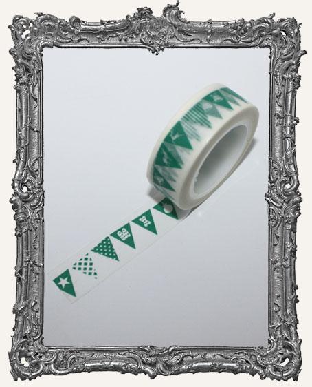 Washi Tape - Green Christmas Flag Banner