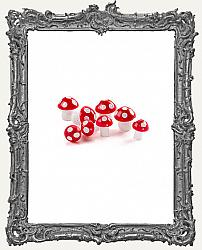Miniature Plastic Mushrooms - Red - 8 Pieces