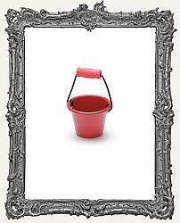Miniature Red Metal Pail With Handle