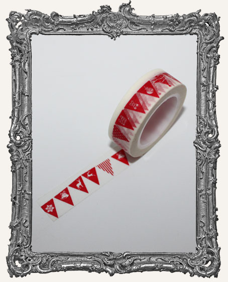 Washi Tape - Red Christmas Flag Banner