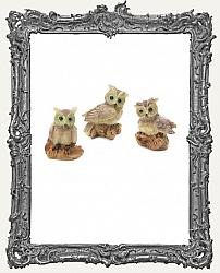 Miniature Resin Owls - 3 Pieces