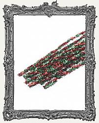 Wired Tinsel Stems - 8mm - Red and Green Twist - 10 Pieces