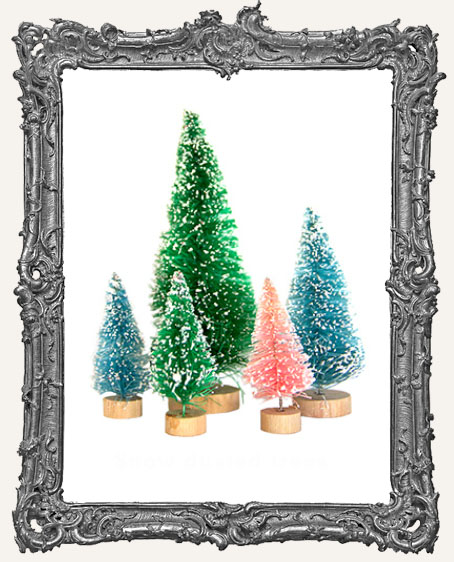 Fancy Pants Mini Frosted Bottle Brush Tree Set - 5 Pieces