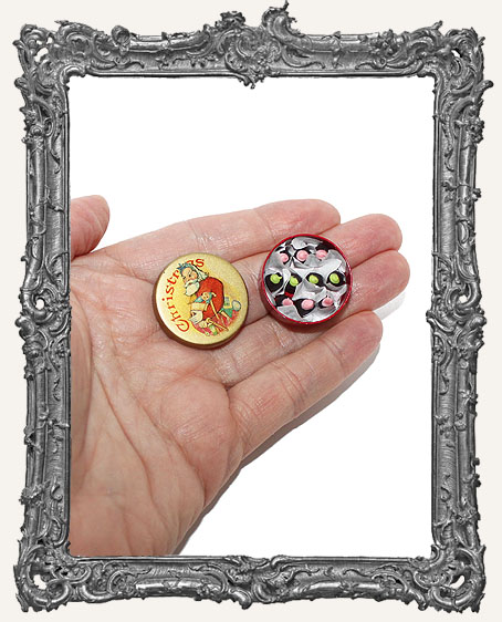 Miniature Round Christmas Candy Tin