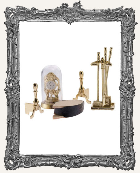 Miniature Brass Fireplace Accessories with Clock - 8 Pieces