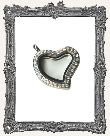 Heart Metal and Glass Locket With Rhinestones