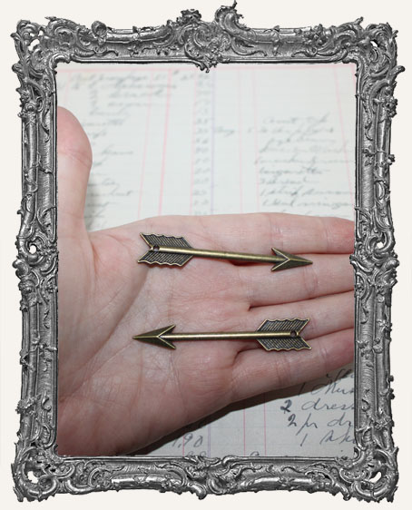 Antique Brass Large Arrow Charms - Set of 2