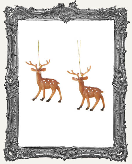 Miniature Plastic Painted Reindeer - 4 pieces