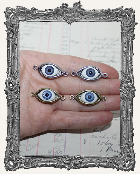 Blue Eye Charms - One Pair Antique Silver OR Antique Gold