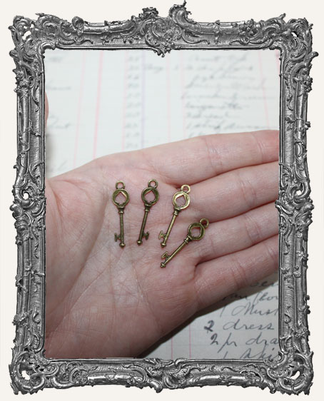 Antique Brass Spade Key Charms - Set of 4