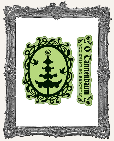 Tree Cameo - Mini Cling Mounted Rubber Stamp Set