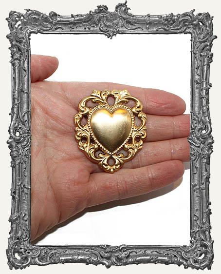 Brass Ornate Filigree Heart