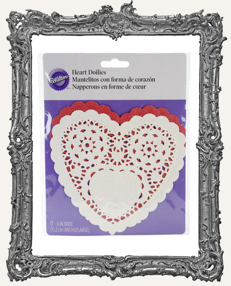 Red and White 6 Inch Heart Doilies - 12 Pack