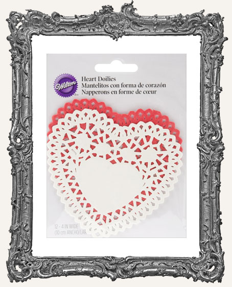 Red and White 4 Inch Heart Doilies - 12 Pack
