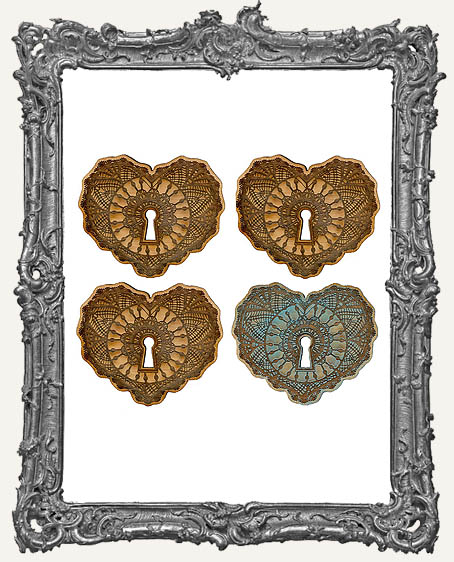 Ornate Vintage Lace Keyhole Hearts - Set of 4