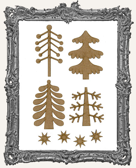 Large Funky Retro Christmas Tree Cut-Outs Set 1 - 8 Pieces