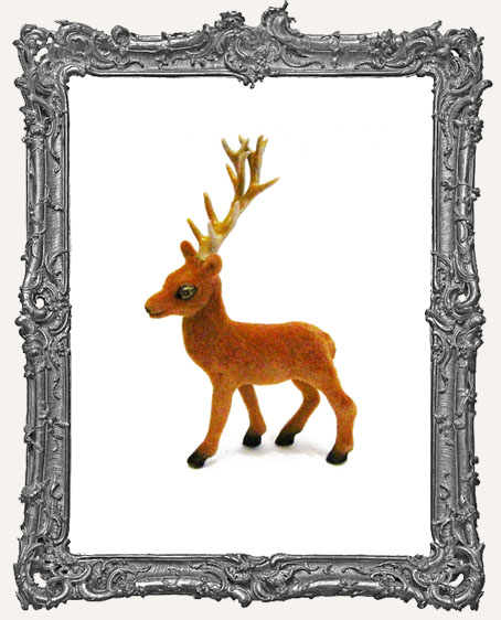 Flocked Brown Standing Deer With Antlers - 3 inches - 1 piece