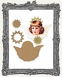 Layered Cardstock and Chipboard Victorian Scrap Angel Ornament Kit - Style 1 Gold