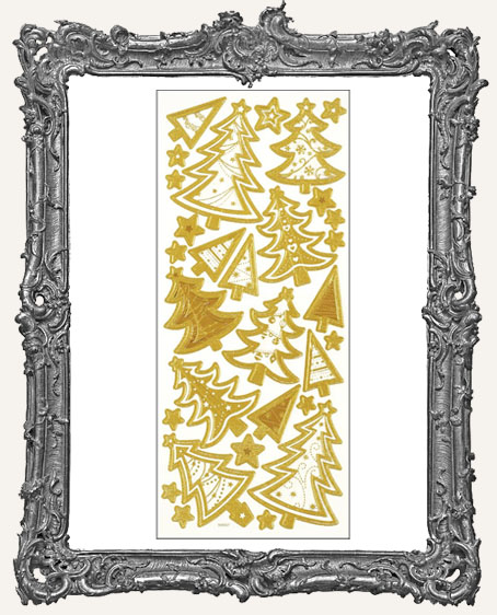 Dazzles Stickers - Gold 3D Christmas Trees
