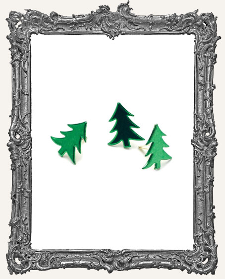 Christmas Tree Brads - Metallic Green