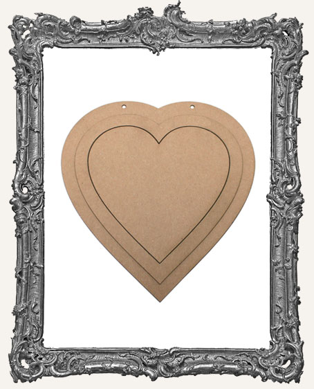 Extra Large Vintage Valentine Layered Chipboard Heart - Classic
