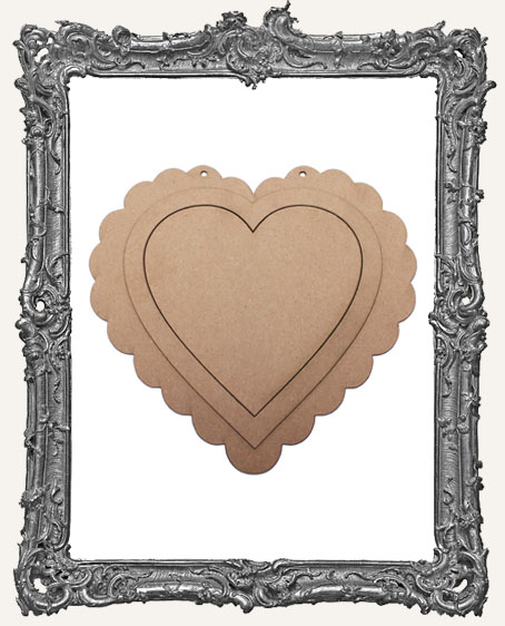 Extra Large Vintage Valentine Layered Chipboard Heart - Scalloped