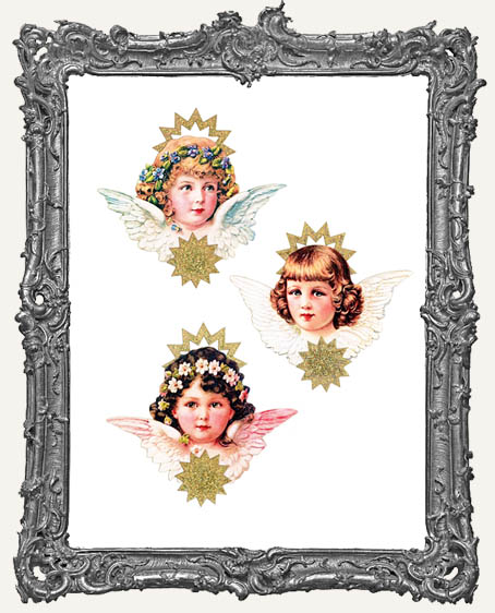 Layered Cardstock and Chipboard Victorian Scrap Angel Ornament Kits - Set of 3 Styles