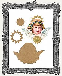 Layered Cardstock and Chipboard Victorian Scrap Angel Ornament Kit - Style 2 Blue