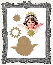 Layered Cardstock and Chipboard Victorian Scrap Angel Ornament Kit - Style 3 Pink