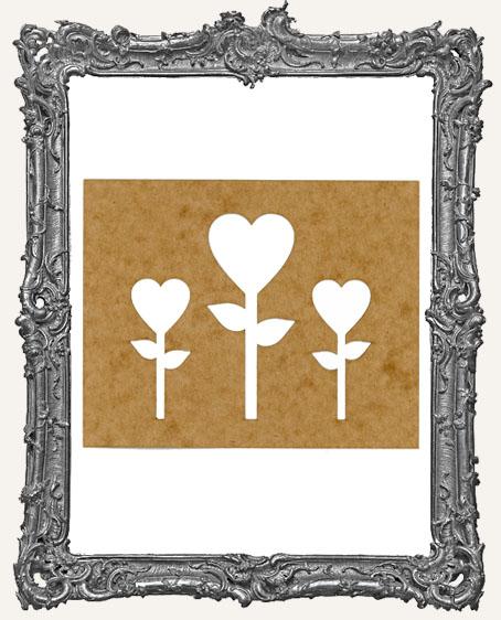 SMALL Heart Flower Stencil