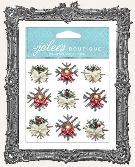 Wooden Snowflake Embellishments - 9 Pieces