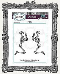 Creative Expressions Cling Mounted Rubber Stamp by Andy Skinner - Pray Skeletons Stamp