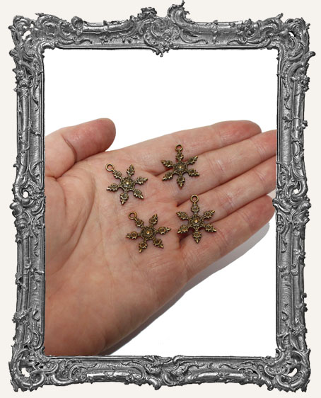 Antique Brass Ornate Snowflake Charms - Set of 4