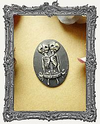 30x40mm Resin Cameo - Distressed Skeleton Twins